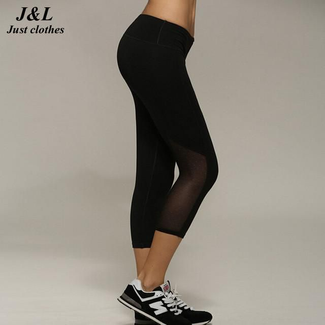 Mallas Mujer Deportivas Sexy Women Sporting Capri Pants,2016 New Mesh Patchwork Elastic Slim Leggings Female Fitness Clothing