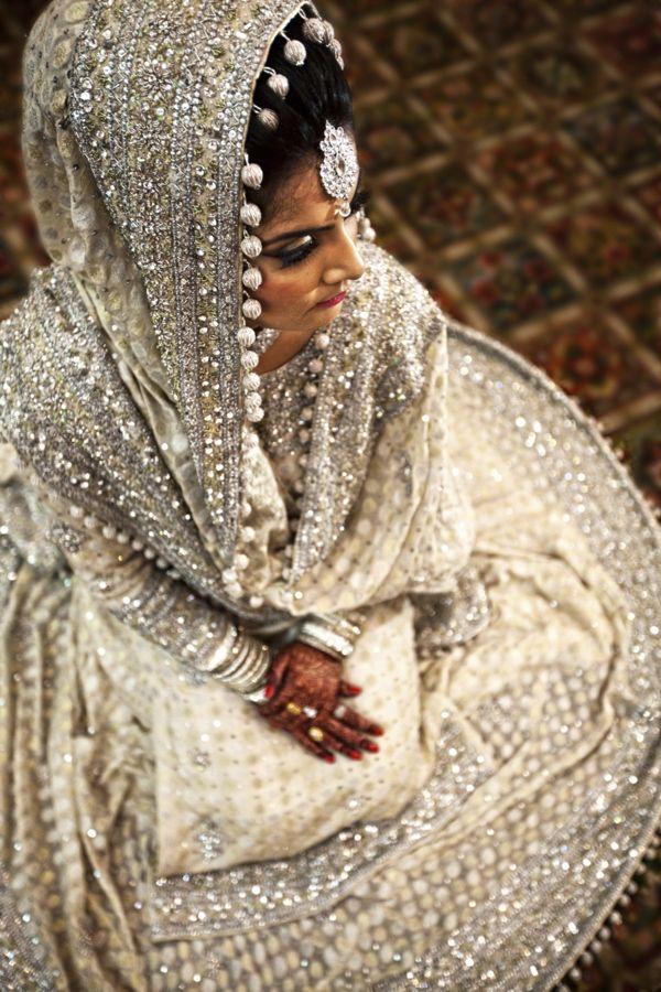 Pakistani bridal, white and silver