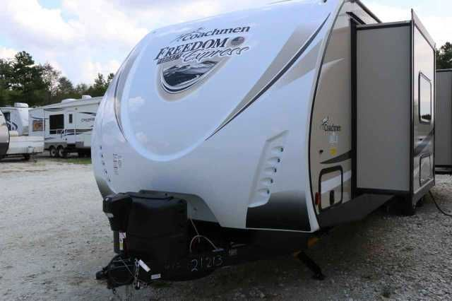 2016 New Coachmen FREEDOM EXPRESS 293RLDS LE Travel Trailer in Texas TX.Recreational Vehicle, rv, Java Interior Décor,Liberty Edition,Freedom Value Package,Hide-A-Bed Sofa,Power Tongue Jack,Aluminum Wheels,Power Awning,LED light kit under kitchen cabinets,LED swivel crystal reading/Night light bedroom,Detachable power cord,Satellite ready,Bluetooth AM/FM/CD/DVD,4 Interior and 2 Exterior Speakers,Skylight,Stonecast Sink,Night Shades Living AreaMetal Skirting,Color Matched Fenders,Folding…