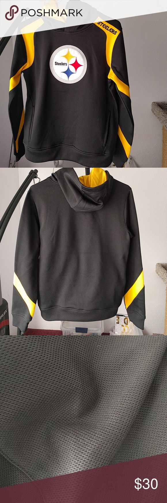 Steelers Hoodie Jacket Youth Large Excellent Condition Used once (when I was wearing size Small) Size: Youth Large 14/16 If an adult is planning to wear this, this fits if you wear size xs-s NFL Team Apparel Shirts & Tops Sweatshirts & Hoodies