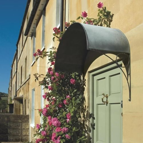 Simple and very stylish curving Ellipse door canopy from Garden Requisites English metal porch cover : canopy makers - memphite.com