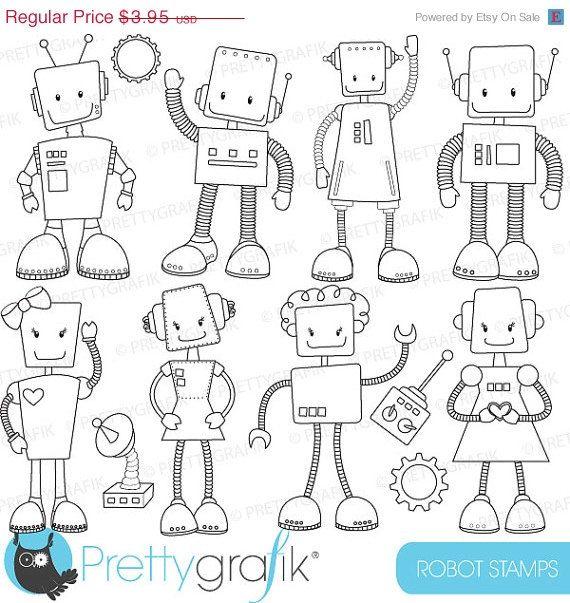 robot stamps #prettygrafik #line art #colouring