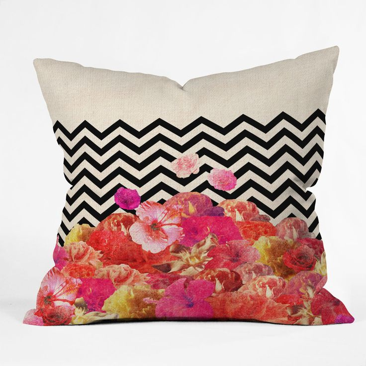 Bianca Green Chevron Flora 2 Throw Pillow   DENY Designs Home Accessories