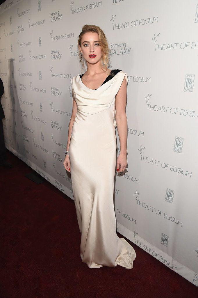 Amber Heard - love this white slinky dress!!