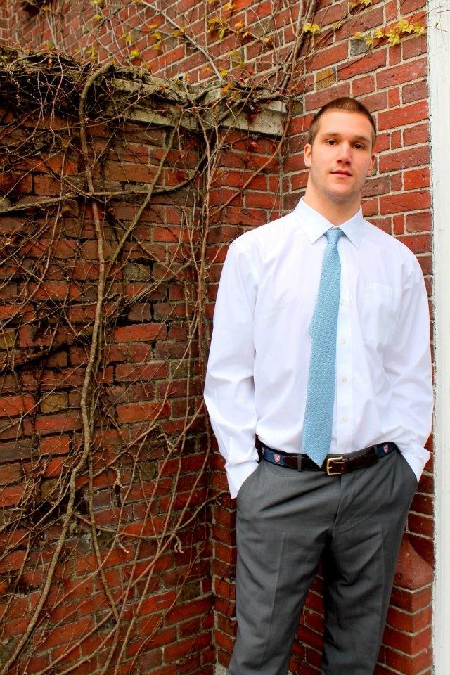 The Vineyard Vines Harvard tie in Light Blue. Modeled by Harvard student Mark. #Harvard #VineyardVines