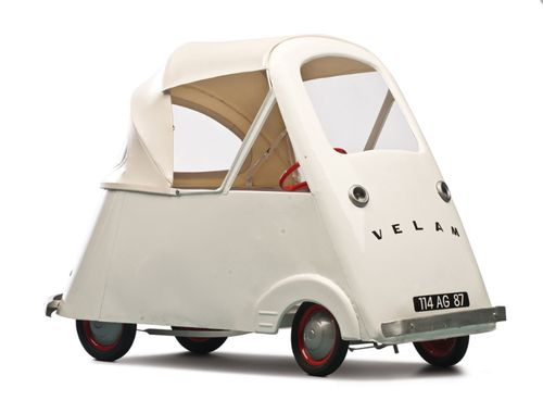 Velam, Child's Pedal Car, 1950s. A steel version of the famous French bubble car. Bruce Weiner Collection. Via rmauctions.