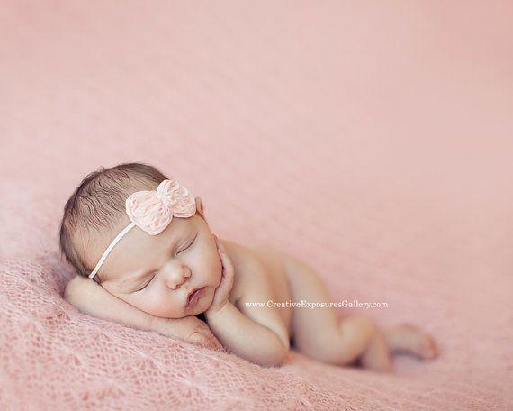 Peach Chiffon Bow Baby Flower Headband, Newborn Headband, Baby Girl Flower Headband, Photography Prop on Etsy, $6.95