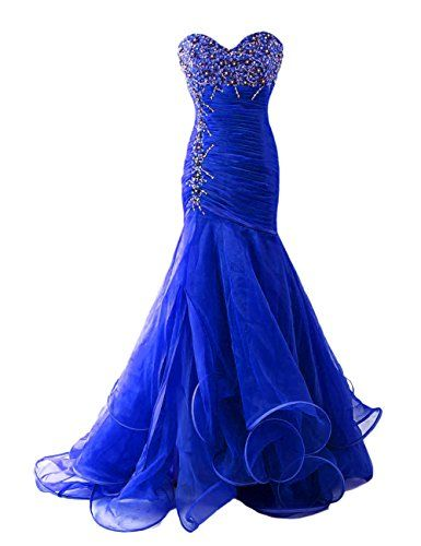 Dresstells Women's Sweetheart Organza Prom Dress Evening Gown with Beads Royal…