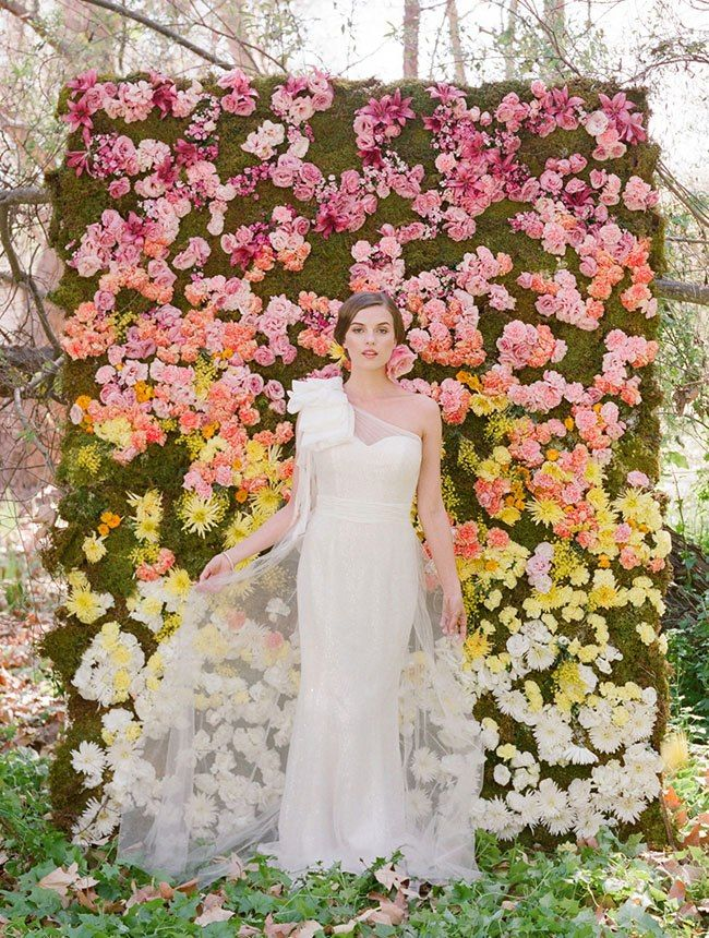 Add a floral backdrop to your spring wedding.