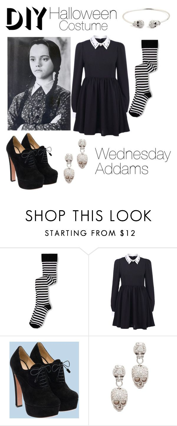 """Wednesday Addams DIY Costume"" by patricia7 ❤ liked on Polyvore featuring Keds, Prada, Tom Binns and BaubleBar"
