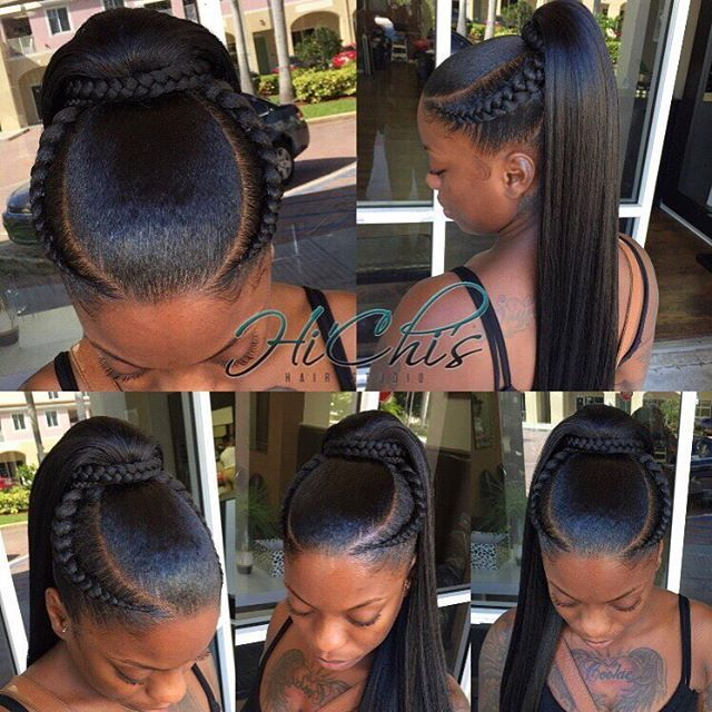 This style was done by request ladies. 18 inch ponytail with two invisible braids to enhance the look. She trusted me to even try out the braids on her. My first time ever doing them. I did manage to achieve the look she was going for. She loved the outcome. ✨✨ #hichishairstudio #achievingnothingbutgreatness