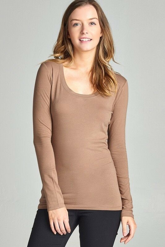Scoop Neck Basic Long Sleeve T-Shirt Solid Cotton Stretch ...