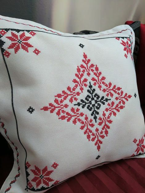Decorative pillow case cross stitch  Taie d'oreiller