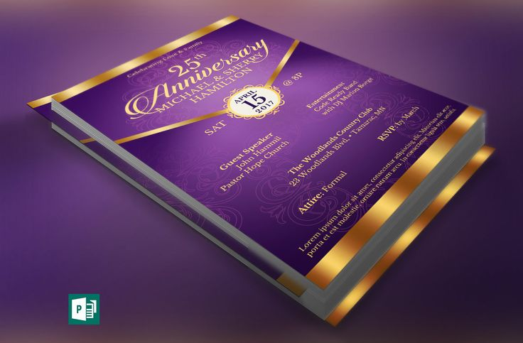 """Wedding Anniversary Gala Flyer Publisher Template is for any anniversary event that needs an elegant theme. The invitation is created with a deep lavender background and highlighted with gold. In this package you'll find 1 Publisher file.   This template is a Microsoft Publisher template designed by Godserv to be edited with Microsoft Publisher 7 and higher. Once you have downloaded this template, use Microsoft Publisher to make edits.  WHAT'S INCLUDED - 1– 5.5""""x8.5""""  Wedding Anniversary..."""