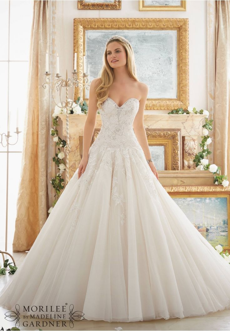 Wedding Dresses and Wedding Gowns by Morilee featuring Rose Patterned Embroidery with Crystal Beading on Tulle Ball Gown Colors Available: White/Silver, Ivory/Silver, Light Gold/Silver