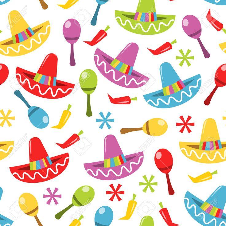 Una Ilustración Vectorial De Fiesta Mexicana Tema De Fondo Sin Fisuras Patrón. Ilustraciones Vectoriales, Clip Art Vectorizado Libre De Derechos. Pic 39734487.