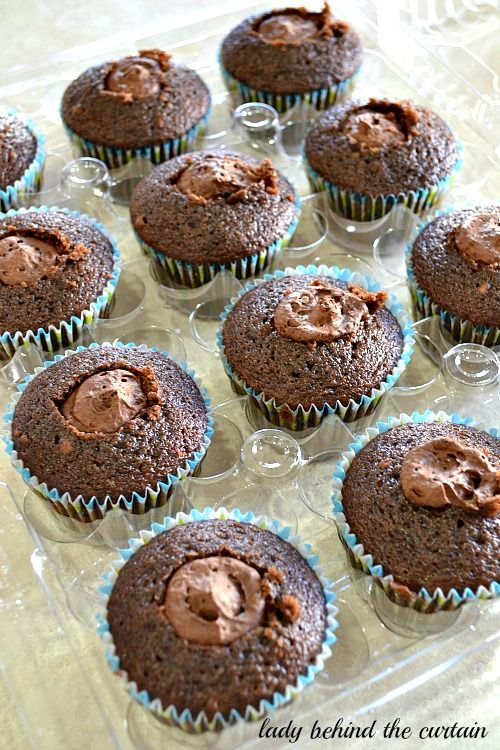 Decadent Double Chocolate Mousse Filled Cupcakes - Lady Behind the Curtain