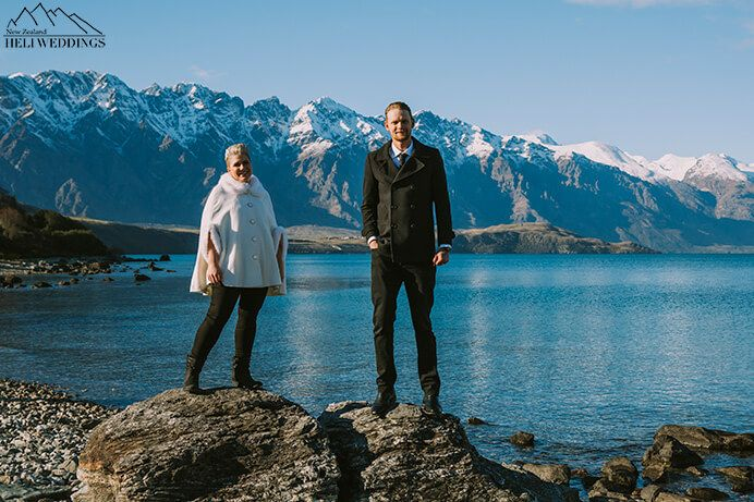 4wd wedding package in Queenstown with winter photos of bride and groom