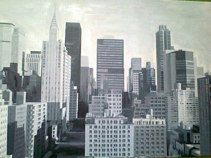 Pintura . Sky Line en blanco y negro. Óleo sobre lienzo.
