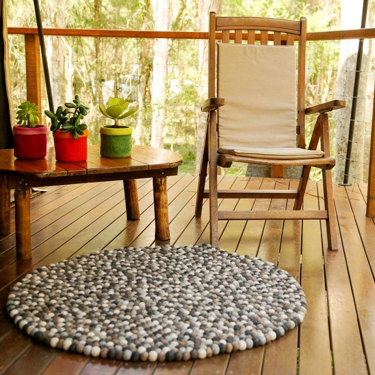 Felt Ball 'Pompom' Rug in Natural Dye range | 100cm All our felt pieces are handmade by our artisan producers in Nepal