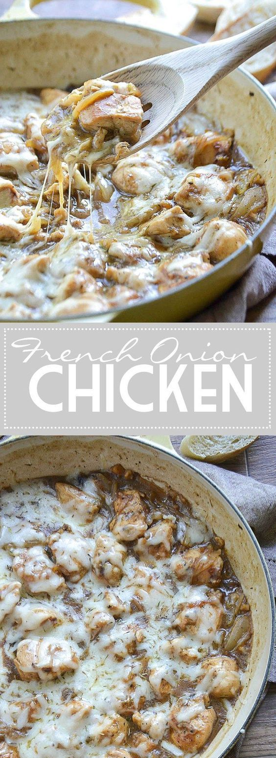 An easy recipe for French Onion Chicken. Chunks of chicken tossed in a thick french onion gravy loaded with sautéed Vidalia onions and melted Swiss cheese.