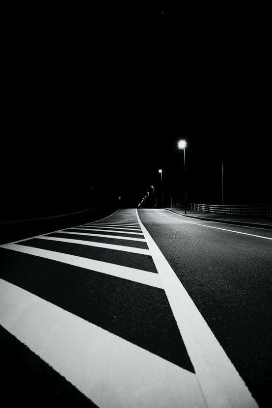 Empty street at night. Black & white.