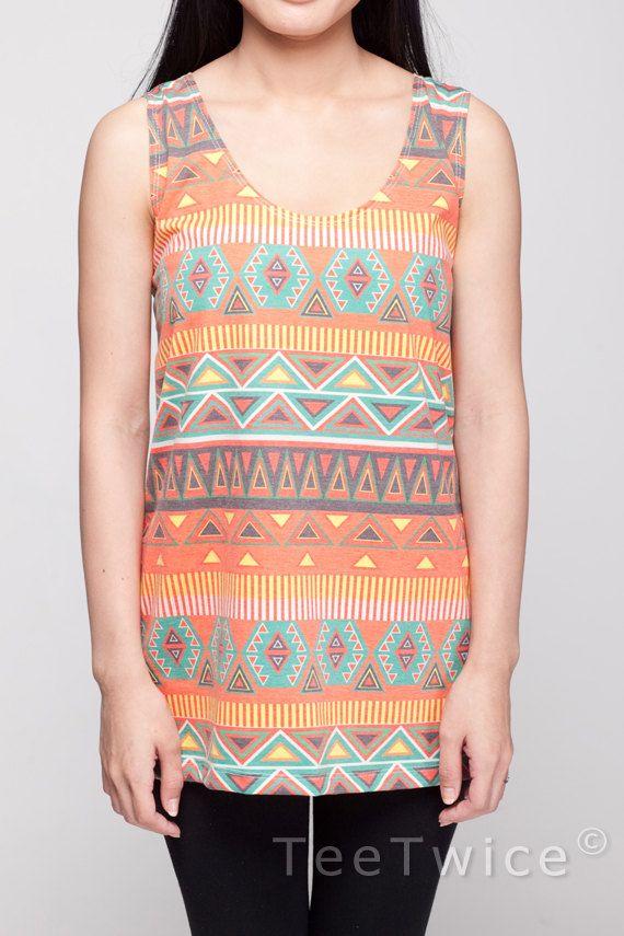 Tribal Shirt Aztec Print Pattern Orange & Blue Shirt by TeeTwice, $16.99