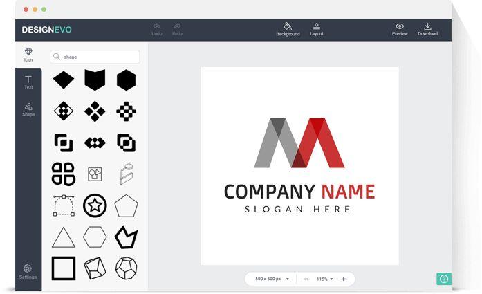 DesignEvo aplicación web para crear logos