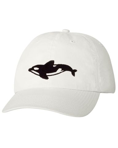 Rule the oceans with an iron fist while you wear this white hat with a killer whale on the front. Hat is white with a black whale and adjustable strap.