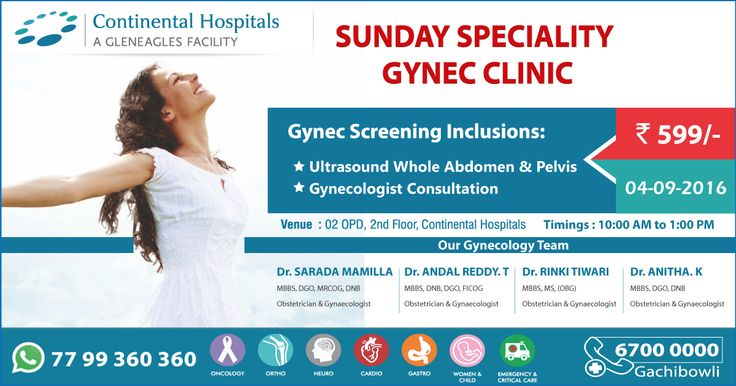 Sunday Speciality #Gynec Clinic @ Continental Hospitals At An #Offer Price Of Rs 599/-
