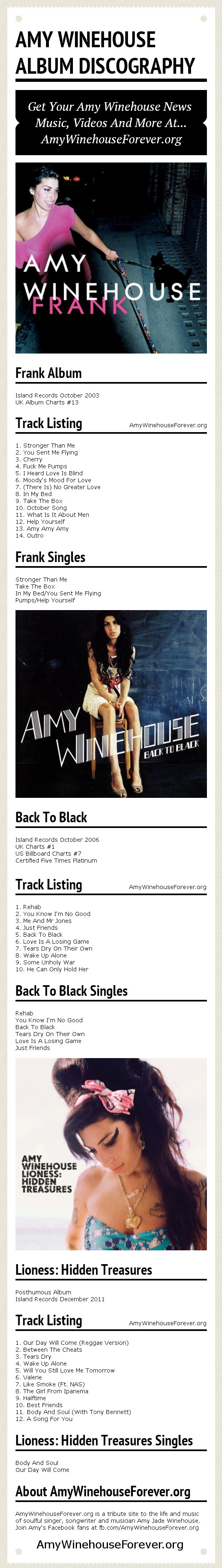 Amy Winehouse Album Discography