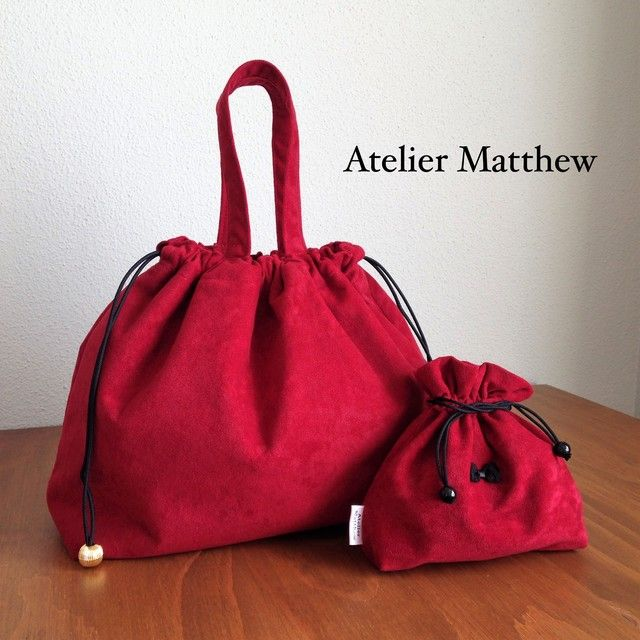 ハンドメイドマーケット+minne(ミンネ)|+冬の特別セット♪巾着バッグ&ミニポーチ/赤