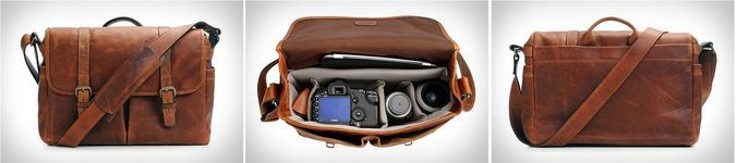 ONA Brixton Antique Leather Messenger Camera Bag - Front Leather Straps, Buckle, Inside View, Back