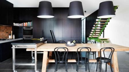 kitchen-black-exposed-brick-wall-dining-pendant-lights-Feb14-