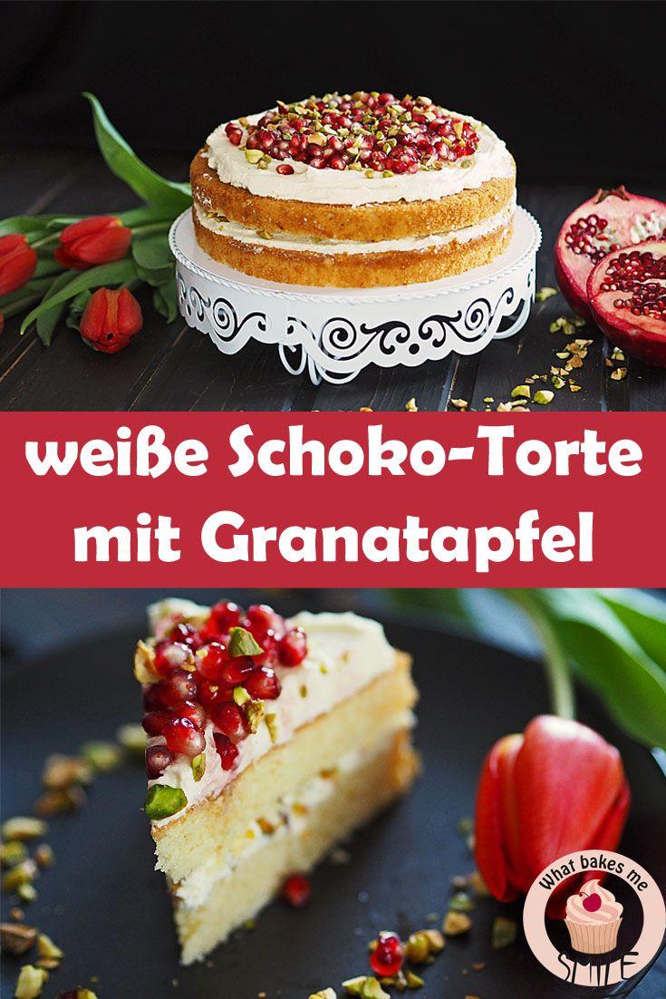 Eine tolle Balance zwischen süß und säuerlich: weiße Schokoladentorte mit Granatapfel und Pistazie