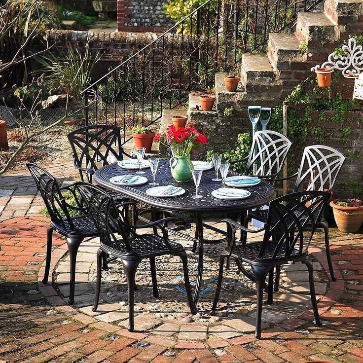 Lazy Susan Furniture   June 150 x 95 cm Oval 6 Seater Cast Aluminium Garden  Set. Best 25  Cast aluminium garden furniture ideas on Pinterest   Wood