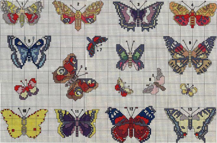 Beautiful butterfly cross stitch charts