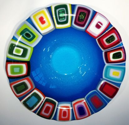 Glass bowl: Blue. 40 cm in diameter. By the danish designer and artist Louise Lagoni.