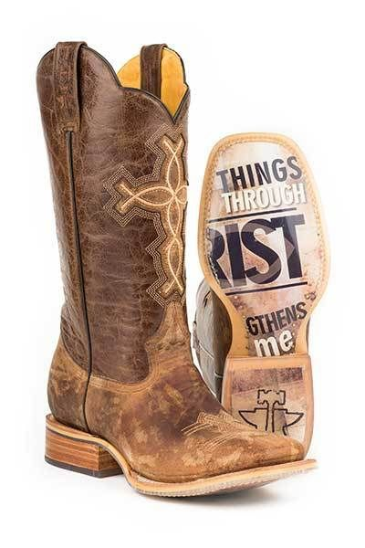 Men's Tin Haul Ichthys Brown Cowboy Boots Style 14-020-0007-0222