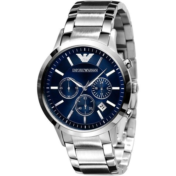Emporio Armani Watch, Men's Stainless Steel Bracelet AR2448 (10,760 THB) ❤ liked on Polyvore featuring men's fashion, men's jewelry, men's watches, no color, mens watches, emporio armani mens watches, blue dial mens watches, mens stainless steel watches and mens watches jewelry