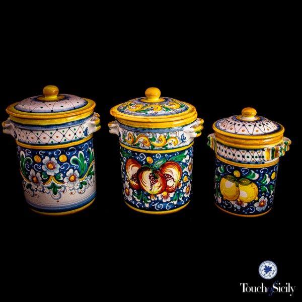 Italian pottery canister set pattern c kitchen for Italian kitchen set