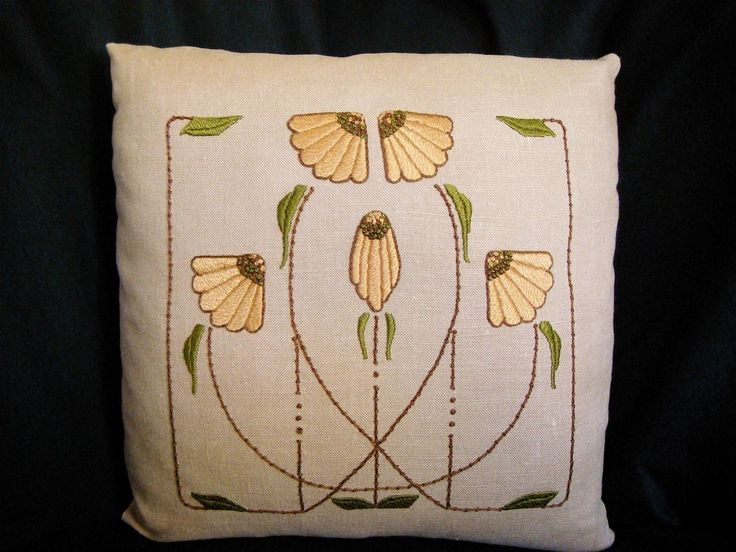 Hand Embroidered Silk, Arts and Crafts Craftsman Style, Carrie Garden Pillow. $260.00, via Etsy.