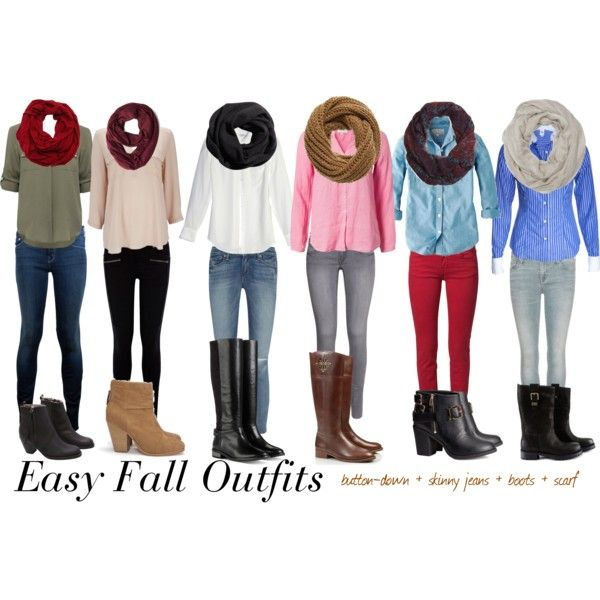 button-down + skinny jeans + boots + scarf = comfy Fall outfit