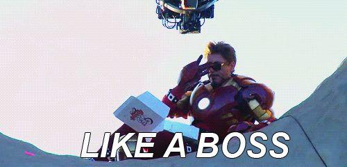 funny avengers gif iron man like a boss