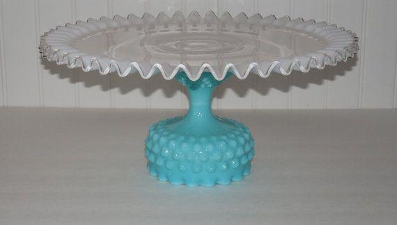 Turquoise Cake Stand 14 Cake Stand Aqua blue by OrangeZebraDesigns