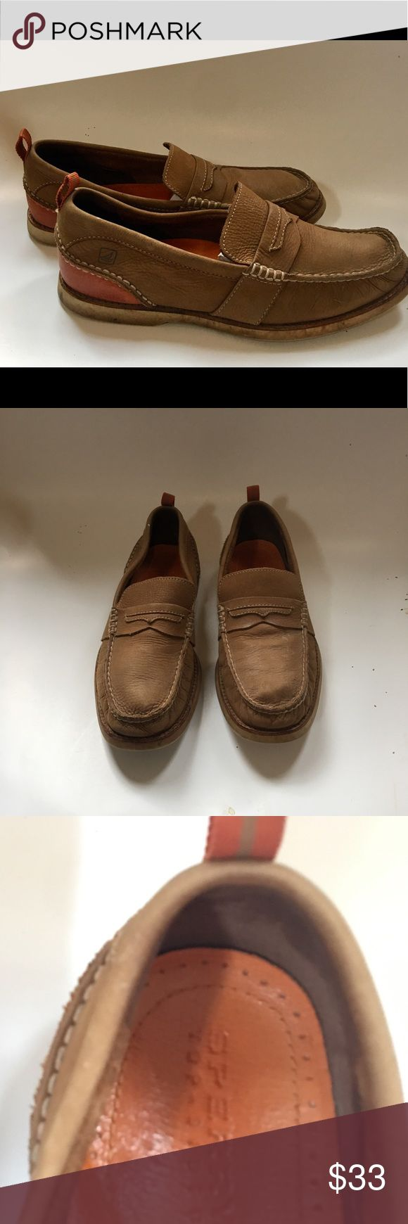Sperry Top Sider Men's Penny Loafer Suede Sz. 9.5 Sperry Top Sider Men's Penny Loafer Suede Brown Boat Shoes Sz. 9.5.  Excellent used condition Sperry Shoes Loafers & Slip-Ons