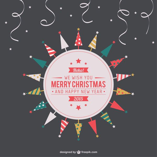 クリスマスツリーを円形に並べたお洒落なクリスマスカードテンプレート