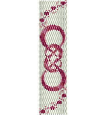 Schema peyote Doppio Infinito, segno infinito dell' amicizia, colorato rosa fucsia (pdf per bracciale) di AntosCreations su Etsy