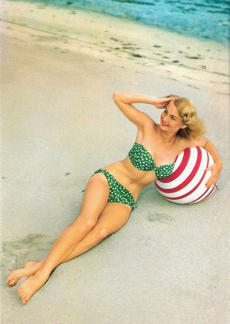 1950s summertime polka dot prettiness. #bikini #beach #summer #1950s #vintage #swimsuit: