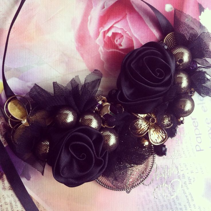 Handmade black embellished statement necklace